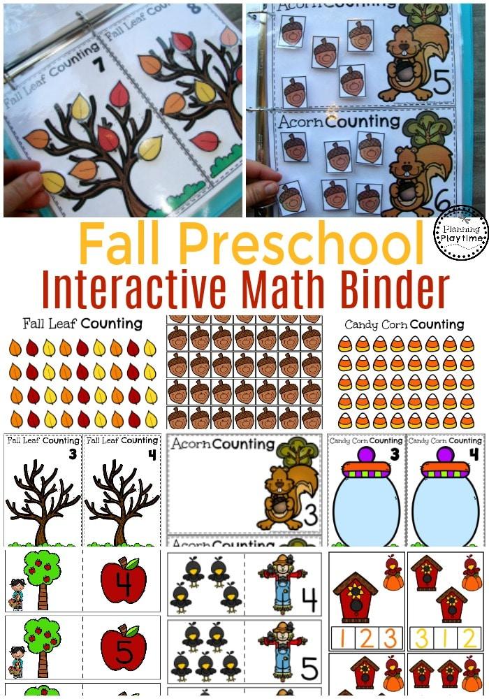 Interactive Math Binder - Fall Preschool Counting #preschool #counting #planningplaytime