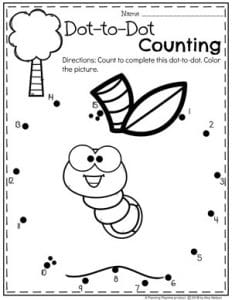 Preschool Apple Worksheets Dot to Dot Coloring Page #preschool #preschoolworksheets #appletheme #appleworksheets #planningplaytime
