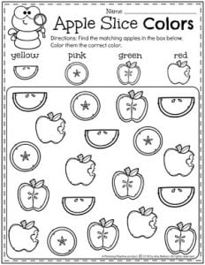 Preschool Apple Worksheets - Find and color #preschool #preschoolworksheets #appletheme #appleworksheets #planningplaytime