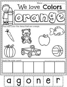 Preschool Color Worksheets - Orange#preschoolworksheets #colorworksheets #Planningplaytime