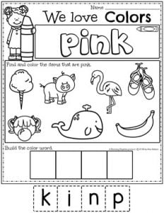 Preschool Color Worksheets - pink #preschoolworksheets #colorworksheets #Planningplaytime