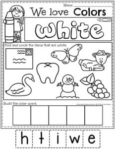 Preschool Color Worksheets - white #preschoolworksheets #colorworksheets #Planningplaytime