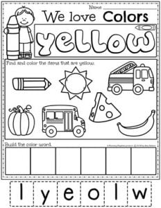 Preschool Color Worksheets - yellow #preschoolworksheets #colorworksheets #Planningplaytime