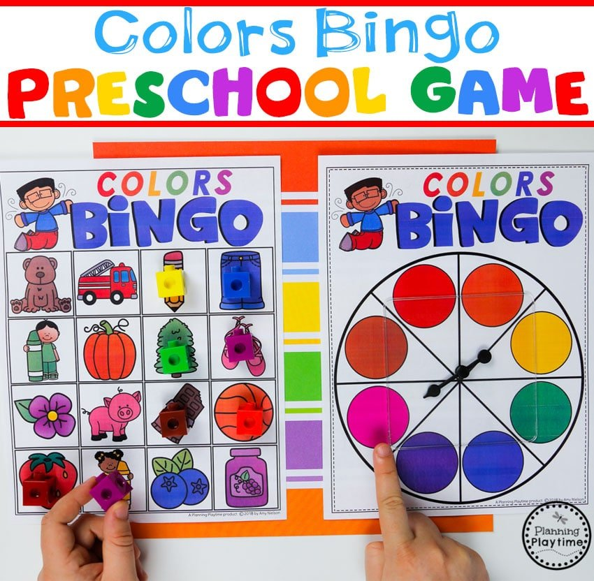 Preschool Colors Game - Spin a Color Bingo #preschool #colorrecognition #planningplaytime