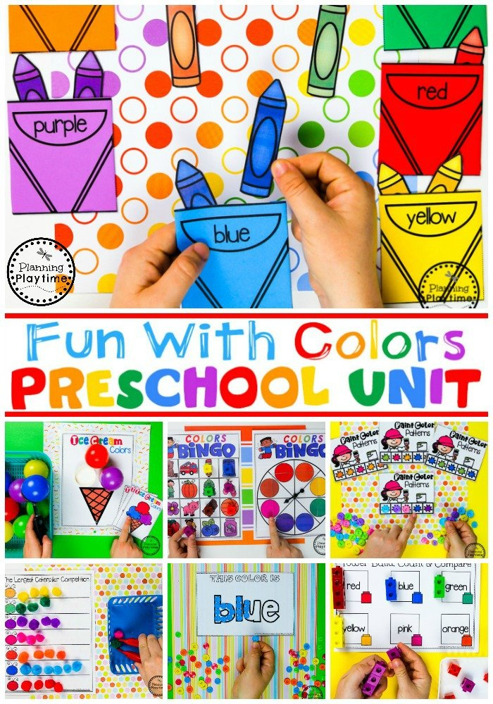Preschool Colors Unit - All About Colors #preschool #colorrecognition #planningplaytime