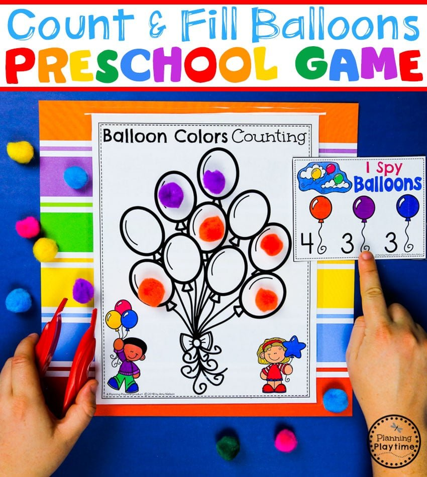 Preschool Colors and Counting Game - Count and fill Balloons. #preschool #colorrecognition #planningplaytime