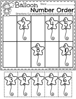 Preschool Math Worksheets - Balloon Number Order#preschool #numberworksheets #planningplaytime