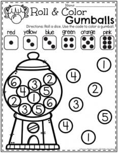 Preschool Number Worksheets - Roll and Cover#preschool #numberworksheets #planningplaytime