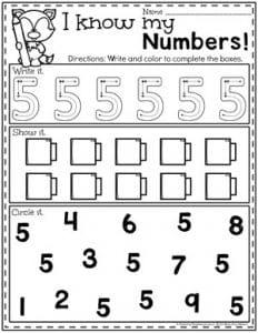 Preschool Numbers Worksheets - Number 5#preschool #numberworksheets #planningplaytime