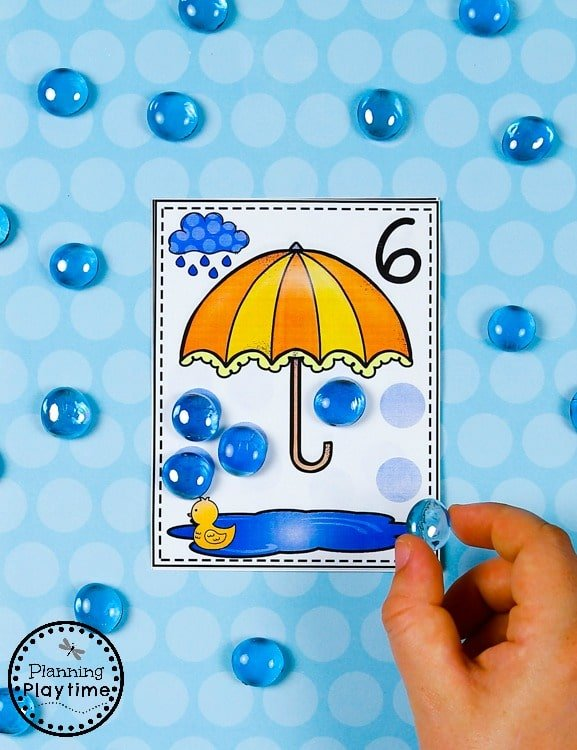 Raindrop Counting Cards - Fun Preschool Counting Games#preschool #planningplaytime #preschoolmath