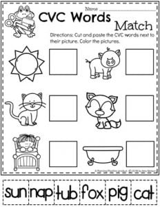 CVC Words Kindergarten Reading Worksheet #CVCwords #kindergarten #planningplaytime #kindergartenworksheets