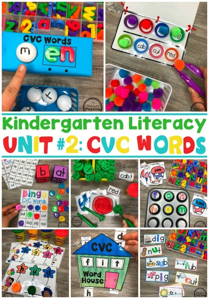 CVC Words - Kindergarten Word Work. So fun! #CVCwords #kindergarten #planningplaytime