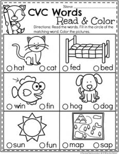 CVC Words - Read and Color #CVCwords #kindergarten #planningplaytime #kindergartenworksheets