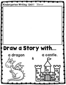 Kindergarten Writing Prompts: Drawing a Story - Dragon and Castle