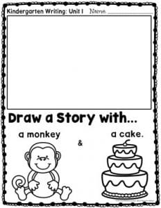 Kindergarten Writing Worksheets - Drawing a Story - Monkey and Cake