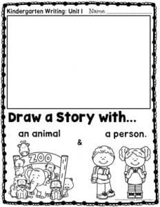 Narrative Writing for Kindergarten: Drawing a Story - Person and Animal