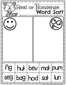 Kindergarten Literacy Worksheets - CVC Words Real or Nonsense #CVCwords #kindergarten #planningplaytime #kindergartenworksheets