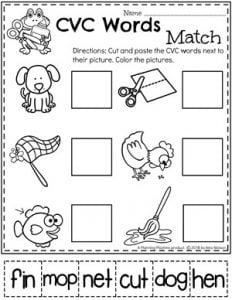 Kindergarten Word Work Worksheets - CVC Words #CVCwords #kindergarten #planningplaytime #kindergartenworksheets