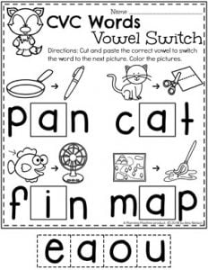 Kindergarten Word Work Worksheets - Medial Vowel Switch #CVCwords #kindergarten #planningplaytime #kindergartenworksheets