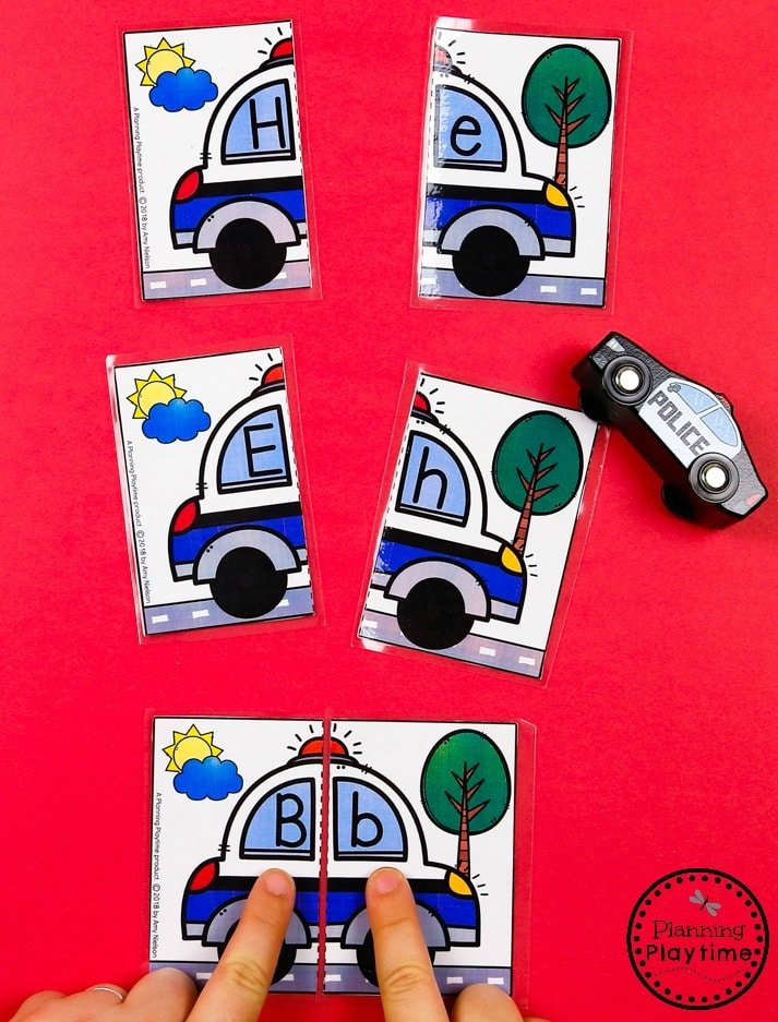 Letter Matching - Preschool Transportation Unit #preschool #transportationunit #planningplaytime