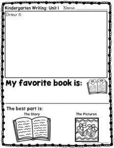 Opinion Writing for Kindergarten - My Favorite Book
