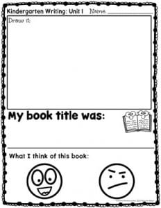 Kindergarten Writing Prompts - Opinion - What I Think of This Book Version
