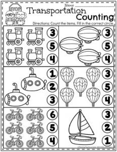 Preschool Counting Worksheets - Transportation Theme 1