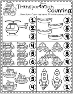 Preschool Counting Worksheets - Transportation Theme 2