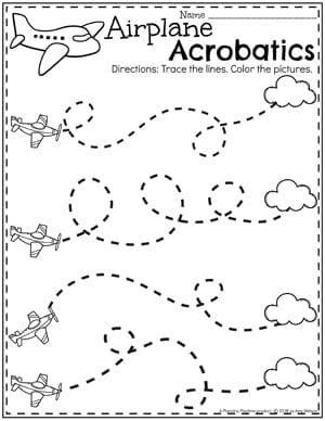 Preschool Tracing Worksheets - Airplane Acrobatics for a Transportation Theme #tracignworksheet #preschool #preschoolworksheets #planningplaytime