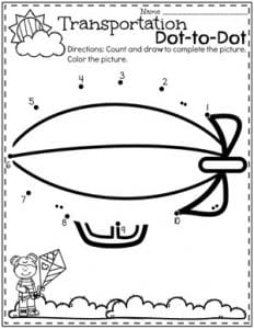Preschool Transportation Dot to Dot Coloring Page #preschool #preschoolworksheets #planningplaytime #dottodot