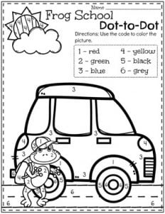 Preschool Transportation Theme Color by Number Worksheets #preschool #preschoolworksheets #planningplaytime #colorbynumber