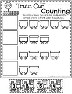 Preschool Transportation Theme - Counting Worksheets #preschool #preschoolworksheets #planningplaytime