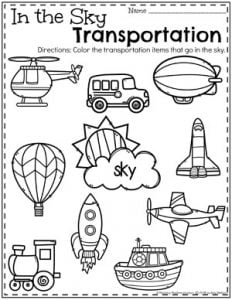 Preschool Transportation Worksheets - In the Sky#preschool #preschoolworksheets #planningplaytime