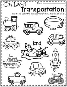 Transportation Worksheets - Planning Playtime
