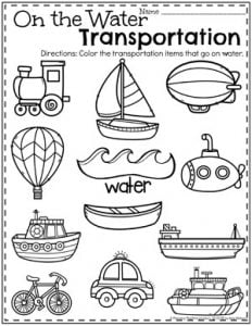 Preschool Transportation Worksheets - One the Water #preschool #preschoolworksheets #planningplaytime