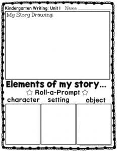 Roll a Prompt Writing Center for Kindergarten