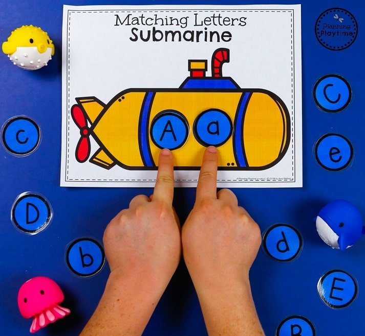 Submarine Letter Matching Game - Preschool Transportation Unit #preschool #transportationunit #planningplaytime
