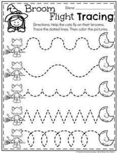 Broom Flight Tracing - Preschool Halloween Worksheets #halloweenworksheets #preschoolworksheets #planningplaytime