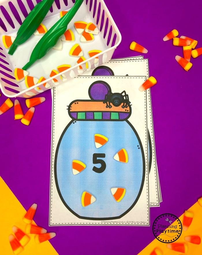 Candy Corn Counting - Preschool Math Game#halloweenworksheets #preschoolworksheets #planningplaytime