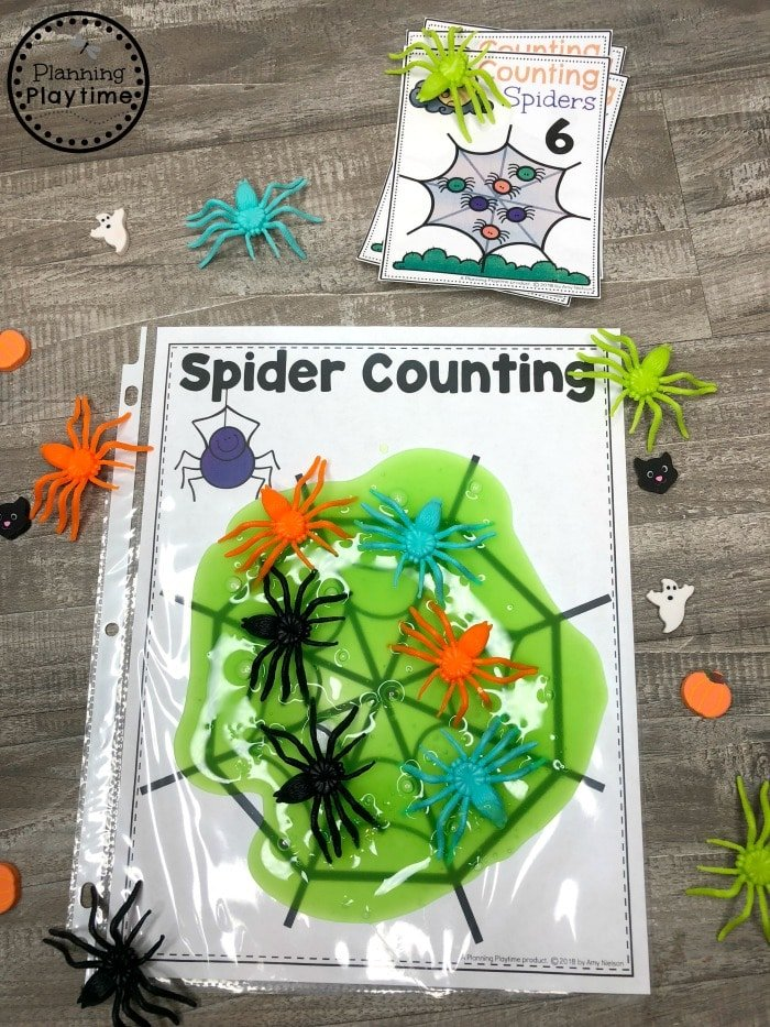 Halloween Math for Preschool - Spider Counting #halloweenworksheets #preschoolworksheets #planningplaytime
