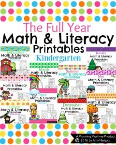 Kindergarten Math Worksheets and Literacy for the full year