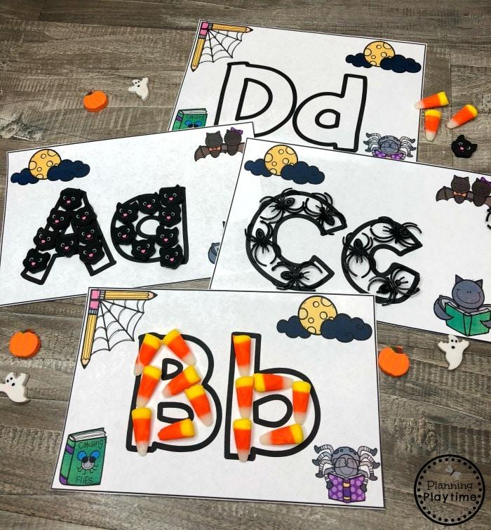 Letter Practice Worksheets for Preschool - Halloween #halloweenworksheets #preschoolworksheets #planningplaytime