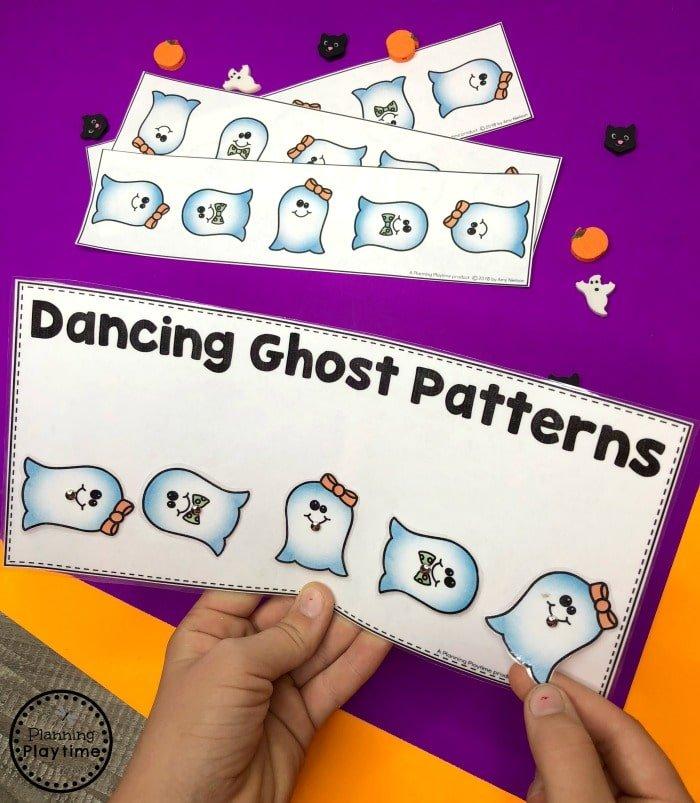 Preschool Patterns Game for Halloween - Twist to Match Dancing Ghosts #halloweenworksheets #preschoolworksheets #planningplaytime