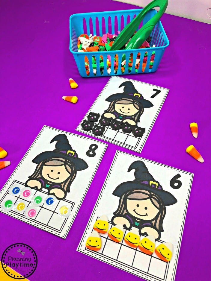 Witch Counting 10 Frames - Halloween Math for Preschool #halloweenworksheets #preschoolworksheets #planningplaytime