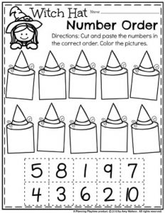 Witch Hat Number Order - Preschool Math Worksheet for Halloween #halloweenworksheets #preschoolworksheets #planningplaytime