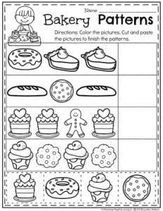 Bakery Preschool Patterns Worksheets