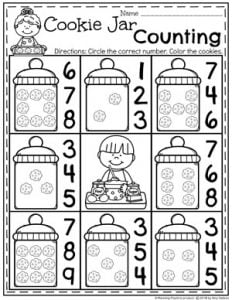 Baking Worksheets for Preschool - Cookies Counting