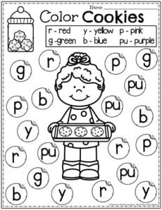 Dot Marker Preschool Baking Worksheet