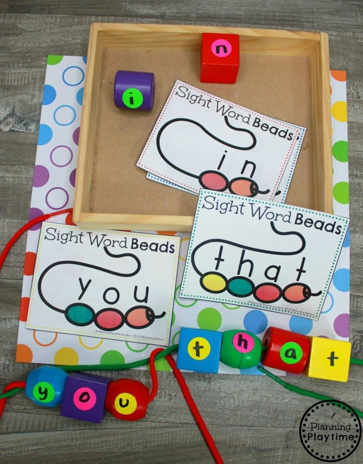 Fun Sight Words Games for Kindergarten - Beading Sight Words #sightwords #sightwordsworksheets #literacyworksheets #kindergartenworksheets #planningplaytime