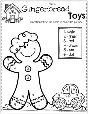 Gingerbread Coloring Page for Preschool - Color by Number #gingerbreadmanprintables #gingerbreadmanworksheets #gingerbreadmantheme #preschool #preschoolworksheets #planningplaytime